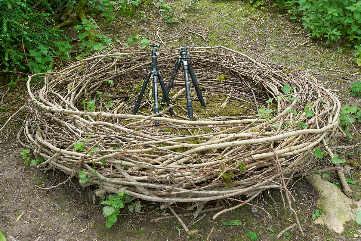 Two Benro tripods in a basket