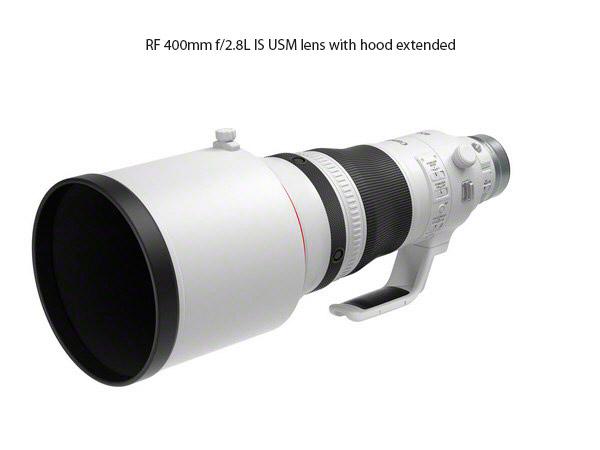 Lens hood fully extended on the RF 400mm f/2.8L IS USM