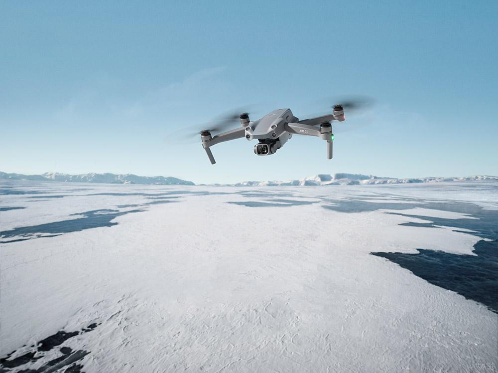 Piloting over snowy tundra
