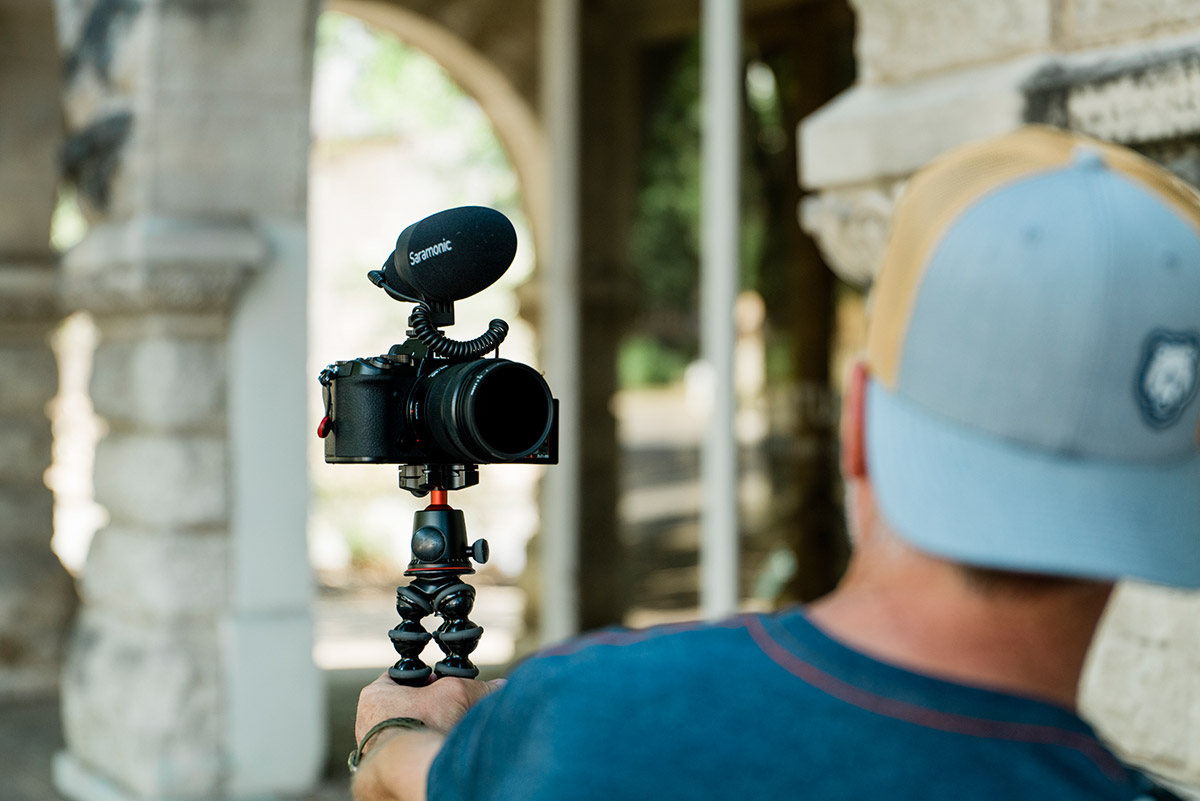 Pro video features of the S5 with external mic and gimbal recording piece to camera