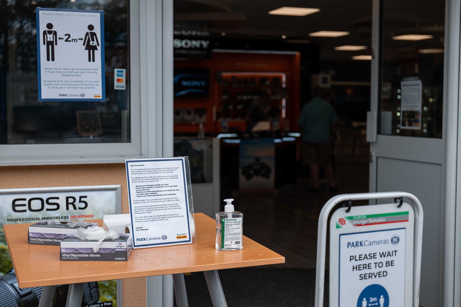 Sanitiser outside the stores