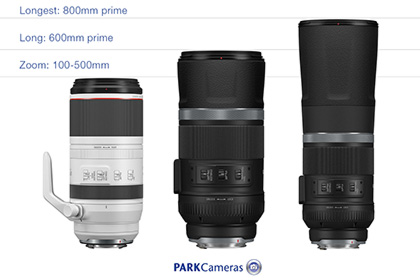go long with 3 rf super telephoto lenses