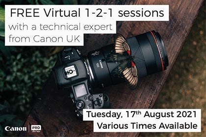 Free VIRTUAL 1-2-1 sessions with Canon