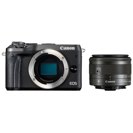 Canon EOS M6 Mirrorless Body With EF-M 15-45mm IS STM Lens Black