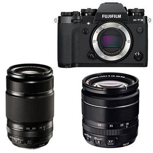 Fujifilm X-T3 Digital Camera with XF 18-55mm + XF 55-200mm Lens - Black