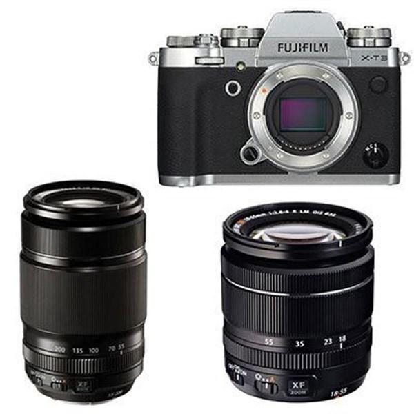 Fujifilm X-T3 Digital Camera with XF 18-55mm + XF 55-200mm Lens - Silver