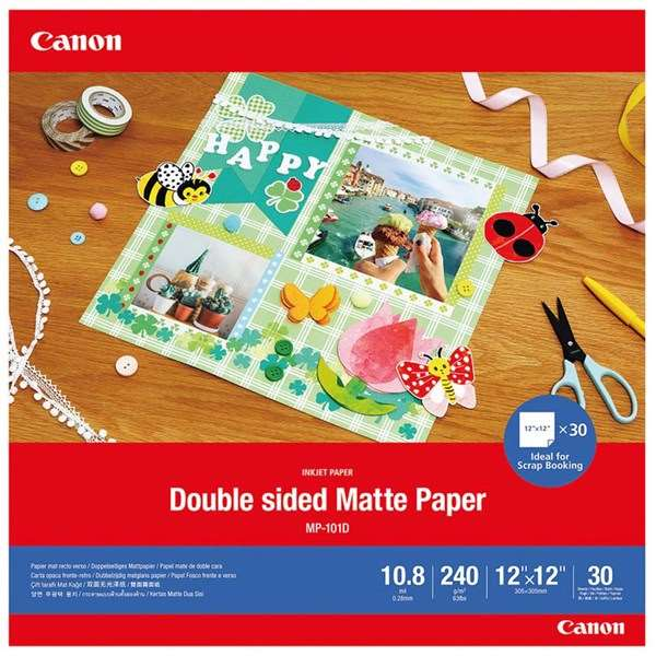 Canon MP-101D Double-sided Matte Paper, 12x12 inch, 30 sheets