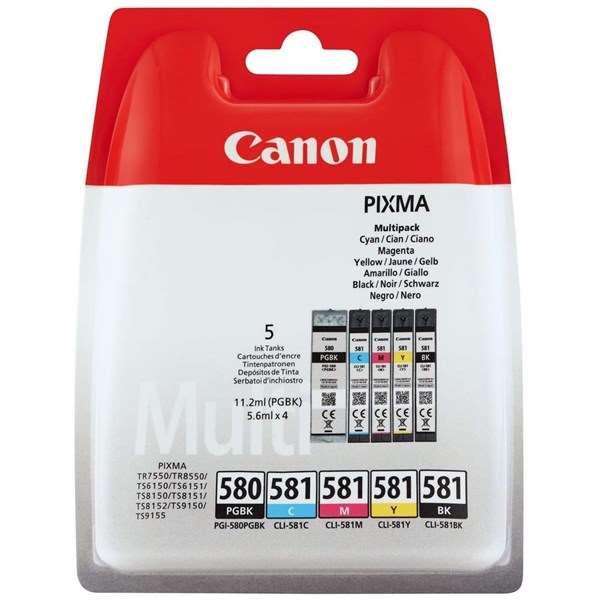 Canon PGI-580BK/CLI-581 33.6ml Black / Cyan / Yellow / Magenta / Pigment Black Ink Cartridges - Mu