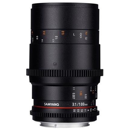 Samyang 100mm T3.1 VDSLR ED UMC Macro Cine Lens Canon EF