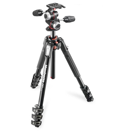 Manfrotto MK190XPRO4-3W 190 XPRO 4 Section Aluminium Tripod with XPRO 3-Way Head