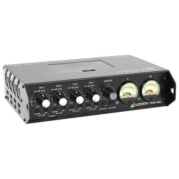 Azden FMX-42u 4 Channel Portable Mic/Line Mixer With USB Audio Output