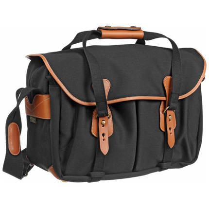 Billingham 445 Shoulder Bag - Black Canvas/Tan