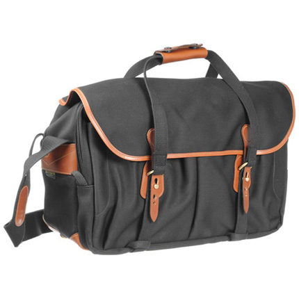 Billingham 555 Shoulder Bag - Black Canvas/Tan